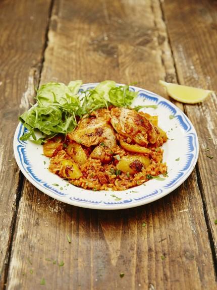 Receta de pollo y arroz al horno con chorizo